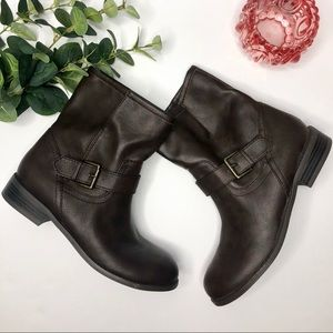 Old Navy Brown Slip On Ankle Moto Buckle Boots